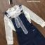 เสื้อผ้าแฟชั่นพร้อมส่ง เสื้อเเขนยาวสีขาวผ้าc2จุด ผูกโบว์ที่คอ ใสเเมตกับเอี๊ยมยีนส์ขายาว thumbnail 6