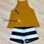 เสื้อผ้าแฟชั่นเกาหลีพร้อมส่ง เสื้อสายเดี่ยวสีเหลืองมาพร้อมกางเกงลายทางขาว-ดำ thumbnail 6