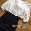 เสื้อผ้าเกาหลี พร้อมส่งจัมป์สูทสามส่วนตกแต่งริบบิ้นกางเกงลายทางสไตล์สมาร์ท thumbnail 11