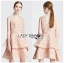 Vanessa Ruffle Layered Peachy Lace Dress thumbnail 5