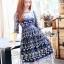 ชุดเดรสเกาหลีพร้อมส่ง เดรสผ้าทูลเลสีน้ำเงินปักลายดอกกุหลาบสีทอง thumbnail 4