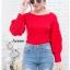 เสื้อผ้าเกาหลีพร้อมส่ง เสื้อไหมพรหมแขนพองๆบอลลูน thumbnail 4