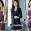 เสื้อผ้าเกาหลีพร้อมส่ง Chic Coral Pink&Black Cami Suite Set thumbnail 3