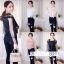 เสื้อผ้าเกาหลีพร้อมส่ง เสื้อผ้าซีทรูแขนยาว มีซับเป็นสายเดี่ยวสีคู่กับเสื้อ thumbnail 1