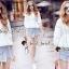 เสื้อผ้าเกาหลีพร้อมส่ง T-Shirt Circle Outfit Sweet Skirt Jean thumbnail 4