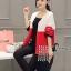 เสื้อผ้าเกาหลีพร้อมส่ง เสื้อคลุมตัวยาวงานไหมพรม cardigan ทอไล่สีขาว แดง ดำ thumbnail 8