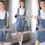 เสื้อผ้าเกาหลีพร้อมส่ง Star pendant T-shirt Splitty Skirt Bibby Set thumbnail 2