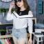 เสื้อผ้าเกาหลีพร้อมส่งเสื้อเชิ้ตแขนยาวต่อผ้ายืดช่วงบน ดีไซน์เปิดไหล่ thumbnail 10
