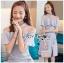 ชุดเดรสเกาหลีพร้อมส่ง เดรสผ้าเครปสีฟ้าอ่อนตกแต่งระบาย thumbnail 3