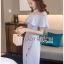 ชุดเดรสเกาหลีพร้อมส่ง เดรสผ้าเครปสีฟ้าอ่อนตกแต่งระบาย thumbnail 10