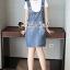 เสื้อผ้าเกาหลีพร้อมส่ง Star pendant T-shirt Splitty Skirt Bibby Set thumbnail 11