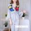 เสื้อผ้าเกาหลีพร้อมส่ง ชุดจั้มขายาวแต่งแขนระบาย thumbnail 12