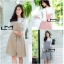 เสื้อผ้าเกาหลีพร้อมส่ง ชุดเซทเสื้อแขนยาว+เดรสลายตาราง thumbnail 1