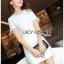 เสื้อผ้าเกาหลีพร้อมส่ง ค็อกเทลเดรสผ้าคอตตอนทวีตสีขาวตกแต่งมุก thumbnail 2
