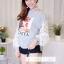 เสื้อผ้าเกาหลีพร้อมส่ง เสื้อแขนยาวแต่งผ้าลูกไม้ตรงแขนเสื้อ thumbnail 5