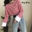 เสื้อผ้าเกาหลีพร้อมส่ง เสื้อคอกลม แขนยาว ลาย Stripe thumbnail 7