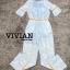 เสื้อผ้าแฟชั่นเกาหลีพร้อมส่ง จั๊มสูทขายาวสีฟ้าพิมพ์ลายดอกไม้สีขาวสดใส thumbnail 4