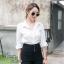 เสื้อผ้าแฟชั่นพร้อมส่ง เซตเสื้อเชิ๊ตขาว+กางเกงเอวสูงขายาว thumbnail 2