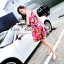 ( พร้อมส่งเสื้อผ้าเกาหลี) เดรสลายดอกไม้สีสันสดใส เนื้อผ้า silk polyester เนื้อผ้าเรียบสวย เข้ารูปช่วงอก-เอว กระโปรงจีบระบายรอบตัว มีซับในในตัวนะคะ thumbnail 5
