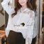 เสื้อผ้าเกาหลีพร้อมส่ง Korea Pleaty Shirt Denim Sleeve thumbnail 2