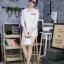เสื้อผ้าเกาหลีพร้อมส่ง เดรสเชิ้ตแขนยาว กระดุมเรียงสกรีนลาย thumbnail 8