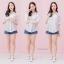 เสื้อผ้าเกาหลีพร้อมส่ง Basic striped เสื้อเชิ๊ตสีขาวลายทาง thumbnail 3
