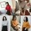 เสื้อผ้าเกาหลีพร้อมส่ง เสื้อไหมพรมคอปีนแขนบอลลูน ผ้าร่อง thumbnail 4