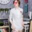 เสื้อผ้าเกาหลีพร้อมส่ง เดรสเชิ้ตคอปกแขนยาว กระดุมครึ่งตัว ปักกุหลาบ thumbnail 3