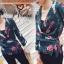 เสื้อผ้าเกาหลีพร้อมส่ง เชิ้ตสูทผ้าซิลค์วาเลนติโนพิมพ์ลาย thumbnail 5