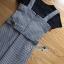 เสื้อผ้าเกาหลีพร้อมส่ง เซ็ตเสื้อยืดสีดำทับด้วยเดรสลายตาราง thumbnail 8