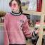 เสื้อผ้าเกาหลีพร้อมส่ง เสื้อกันหนาวตัวยาวทรงคอปีนแขนพอง thumbnail 2
