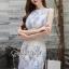ชุดเดรสเกาหลีพร้อมส่ง Sweet Lace Bule Suquin Dress thumbnail 1