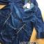 เสื้อผ้าแฟชั่นเกาหลีพร้อมส่ง โค้ตเดรสผ้าเดนิมประดับกระดุมสองแถวตกแต่งซิป thumbnail 6