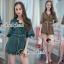 เสื้อผ้าเกาหลีพร้อมส่ง Whiffle Rim Lace Murky Color Playsuit thumbnail 10