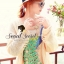 Peafowl Blue Emerald Bear Dazzling Silk Wool Blouse thumbnail 5