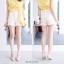เสื้อผ้าแฟชั่นเกาหลีพร้อมส่งกางเกงขาสั้นผ้าลินินมีกระดุมและมีซิป thumbnail 4
