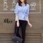 เสื้อผ้าเกาหลีพร้อมส่ง เสื้อคอกลมแขนยาวปลายจั๊ม thumbnail 10