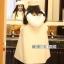 เสื้อผ้าเกาหลีพร้อมส่ง เสื้อโคชตัวยาวสีขาวมีฮู้ดขนมิ้ง thumbnail 4