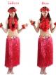 ชุดฮาวายกระโปรงฟาง พร้อมเซตพวงมาลัย รุ่นหนาพิเศษ ยาว 80 cm แดง