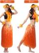 ชุดฮาวายกระโปรงฟาง พร้อมเซตพวงมาลัย รุ่นหนาพิเศษ ยาว 80 cm ส้ม