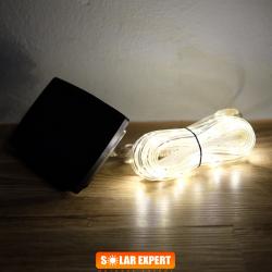 E04 ไฟสายยางโซล่าเซลล์ 100 SMD LED สีวอร์ม
