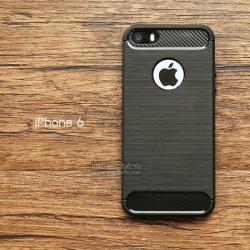 เคส iPhone 6 เคสนิ่มเกรดพรีเมี่ยม (Texture ลายโลหะขัด) กันลื่น ลดรอยนิ้วมือ สีดำ