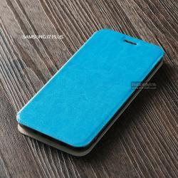 เคส Samsung Galaxy J7 Plus เคสฝาพับบางพิเศษ พร้อมแผ่นเหล็กป้องกันของมีคม พับเป็นขาตั้งได้ สีฟ้า