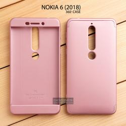 เคส Nokia 6 (2018) เคสแข็งแบบ 3 ส่วน ครอบคลุม 360 องศา (สีโรสโกลด์ - โรสโกลด์)