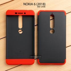 เคส Nokia 6 (2018) เคสแข็งแบบ 3 ส่วน ครอบคลุม 360 องศา (สีดำ - แดง)