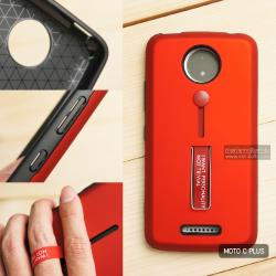 เคส Moto C Plus เคส Hybrid เกรดพรีเมี่ยม 2 ชั้น ขอบยางลดแรงกระแทก พร้อม (ขาตั้ง + สายคล้องนิ้ว) สีแดง