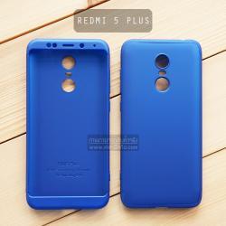 เคส Xiaomi Redmi 5 Plus เคสแข็ง 3 ส่วน ครอบคลุม 360 องศา (สีน้ำเงิน - น้ำเงิน)