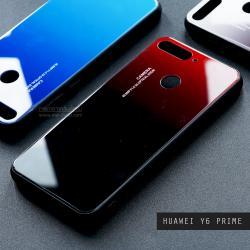 เคส Huawei Y6 Prime เคสขอบนิ่มสีดำ + กระจกกันรอยครอบทับหลังเคส (สีแดง-ดำ - ผิวเงา)