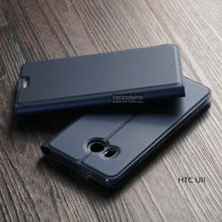 เคส HTC U11 เคสฝาพับเกรดพรีเมี่ยม (เย็บขอบ) พับเป็นขาตั้งได้ สีน้ำเงิน