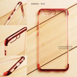เคส Huawei P10 เคสนิ่ม SLIM TPU สีใส ขอบเงา ( สีแดง )